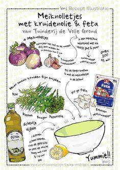 Meiknolletjes een geillustreerd recept van een vergeten groente. Op biologische tuinderij de Volle Grond op Amelisweerd groeien deze meiraapjes. Dit lekkere eenvoudige recept met kruidenolie en feta kan je thuis proberen. Meiknolletjes hebben een licht bittere pittige smaak. Het recept is gratis te downloaden op mijn blog.