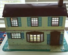 Wolverine Tin Litho Dollhouse 1950's Brown Roof Windows Teal Shutters | eBay