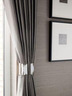 modern curtain tie backs – Curtains ideas Modern Curtains, Curtains With Blinds, Neutral Curtains, Velvet Curtains, Custom Curtains, Style At Home, Home Interior Design, Interior Decorating, Decorating Ideas