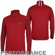 buy online e6e15 16f54 adidas Louisville Cardinals Coaches Sideline Quarter Zip Performance Jacket  - Red