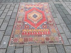 Excited to share the latest addition to my #etsy shop: Red Oushak Rug, Faded Handmade Rug, 3'8x6'6 ft. Persian Carpet, Large size Carpet, White area rug, Vintage carpet, Saloon Rug, low pile Medium Rugs, White Area Rug, Persian Carpet, Large Rugs, Bohemian Rug, Etsy Shop, Red, Handmade, Vintage