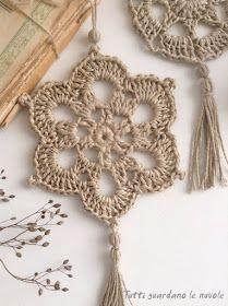 Piccole decorazioni da appendere in corda lavorata a crochet, sottopentola in corda, patterns, sche… en 2020 Crochet Bunting, Crochet Garland, Crochet Decoration, Love Crochet, Crochet Motif, Diy Crochet, Crochet Designs, Crochet Crafts, Crochet Doilies