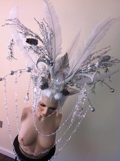 MADE TO ORDER Ice Queen Whimsical Antler Headdress red queen white queen headpiece wig ice frozen winter snow. $599.00, via Etsy.