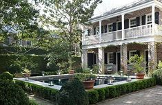 Backyard pool in Charleston surrounded with boxwood and a raised wall - Deborah Nevins