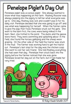 Join Penelope Piglet and more farmyard characters in this 7 passage reading comprehension resource.  The stories are fictional and fun and have a moral or lesson to them.  There are 2 pages with questions and activities for each passage.  #readingcomprehe