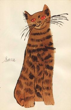 Andy Warhol American), ca. Brown Sam with Orange Eyes, # Warhol Andy Warhol Pop Art, Cultura Pop, Pittsburgh, Illustrations, Illustration Art, Crazy Cat Lady, American Artists, Cat Love, Cat Art