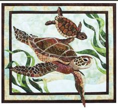 """This fusible art pattern features a large and small sea turtle swimming through ocean grasses. The pattern includes instructions, pattern pages and piecing guide. Finished size: 17 3/4"""" x 20 1/2"""""""