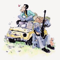 """""""Lupin III sketch with colors , xmas present for my dad 🚗"""" Lupin The Third, Anime Zodiac, Pretty Drawings, A Silent Voice, Anime Figures, Awesome Anime, Kaito, Superwholock, Studio Ghibli"""