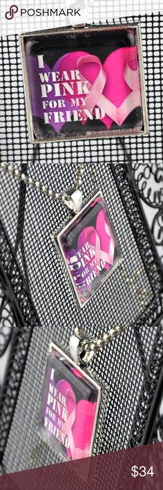 """I Wear Pink for My Friend Breast Cancer Necklace The perfect Necklace to show your support for those still in the fight, the survivors, or those we have lost  Handmade Pendant is 1"""" square and features pink hearts & pink ribbons on a black background. Image is sealed under glass and set in an antique silver tone tray  Choice of 16"""", 18"""", 20"""" or 24"""" Ball Chain necklace  Hand assembled so small air bubbles may be present  Water resistant but not waterproof Photo taken with quarter for size…"""