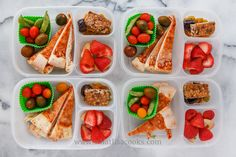 Leftover pizza, tomatoes, sugar snap peas, strawberries, homemade granola bar, raisins, and a prune.Packed in Easy Lunchboxes .