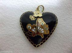 Vintage Chinese Enamel CLOISONNE Pendant Black Heart