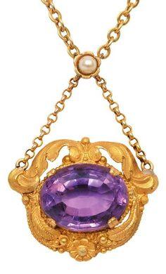 Biedermeier amethyst & yellow gold pendant necklace, early 19th century