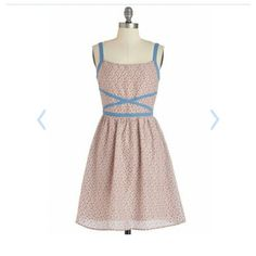 "Modcloth- Doe and Rae sz L dress NWT NWT Doe and Rae - afternoon with your buds dress!  So cute and perfect for summer- really light fabric! Fully lined! Measurents: 30"" waist 36"" bust 35"" length ModCloth Dresses"