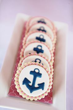 Navy & Pink Anchor Decorated Sugar Cookies // Nautical Party Ideas for Girls Nautical Party, Nautical Wedding, Nautical Bachelorette, Navy Party, Anchor Cookies, Party Fiesta, Baby Shower Cookies, Cookie Designs, Cookie Decorating