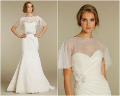 Bridal capes are the most coveted cover-up for S/S 2012 weddings. Tulle or sheer with a lace or silk trim, these capes are key to adding a little glamour to your gown, without taking away from it. Bridal Bolero, Bridal Cape, Bridal Gowns, Wedding Gowns, Wedding Bridesmaid Dresses, White Wedding Dresses, Cold Wedding, Wedding Dress Accessories, Glamour