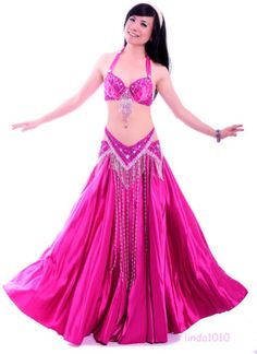 7891768d4 83 Belly Dance Costume Outfit Set Bra Top Belt Hip Scarf Bollywood Carnival  2PCS