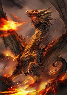 Fire Dragon | dragon breathing fire fantasy illustration