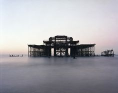 West Pier, Brighton - The Pier had suffered damage from storms and several fires later in 2003 spelled the end of any renovation plans. The skeletal hulk is all that is left.