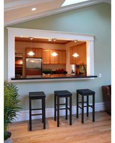 New Kitchen Bar Living Room Paint Colors Ideas Half Wall Kitchen, Open Kitchen And Living Room, Kitchen Pass, Rustic Kitchen, Kitchen Decor, Kitchen Ideas, Diy Kitchen, Kitchen Layouts With Island, Kitchen Island