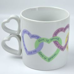 Love 16 oz Mug Double Heart Handle Interlocking Phrases Valentines Day Avon Cup #Avon