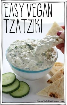 This quick and easy vegan tzatziki is made using easy to find ingredients and ta. This quick and easy vegan tzatziki is made using easy to find ingredients and takes just 10 minutes to make. Perfect for dairy-free Greek recipes. Vegan Sauces, Vegan Foods, Vegan Dishes, Vegan Meals, Vegan Lunches, Dairy Free Greek Recipes, Vegetarian Recipes, Vegetarian Cooking, Healthy Cooking