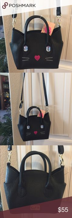 "NEW!BETSEY JOHNSON LBKATT CAT SATCHEL BRAND NEW! AUTHENTIC BETSEY JOHNSON LBKATT CAT SATCHEL-Approximate Measurements are 8"" X 8"" X 4"", with an adjustable detachable strap with an approximate strap drop of 23"".... Betsey Johnson Bags Satchels"