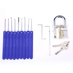 blue cover lock pick set with transparent padlock high quality 9 pcs practice lock pick set with 4 tension tools from Shenzhen Qianhuilai Technology Co., Ltd, pcs lock pick set; Auto Locksmith, Locksmith Services, Lock Set, Key Lock, Smith Tools, Cover Lock, Key Programmer, Knitting Machine Patterns, Will Smith