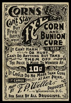who wouldn't want some IXL CORN AND BUNION CURE after viewing this lovely advertisement?