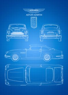 Displate Poster An artistic blueprint of the famous Aston Martin DB5. Obviously well known from the James Bond movies. The Aston Martin DB5 is a luxury grand tourer that was made by Aston Martin and designed by the Italian coachbuilder Carrozzeria Touring Superleggera, Released in 1963. blueprint #astonmartin #db5