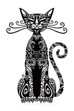 Magic Cat by Alexey Bakhtiozin zentangle Tribal Animal Tattoos, Tribal Animals, Tattoo Animal, Tribal Art, Gato Angel, Cat Embroidery, Magic Cat, Doodles Zentangles, Great Tattoos