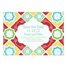 Mexican Tile Red Aqua Teal Green Save the Date Custom Invitation