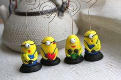 Happy minions - Polymer clay card holders { www.nicomade.ro }