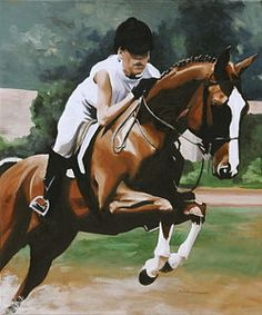 Horse Jumping Painting - Two As One by Darlene Weaver