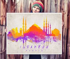 Istanbul Turkey  Watercolor Painting - Art Print - Wall Art - skyline poster Istanbul poster on Etsy, $28.57 CAD