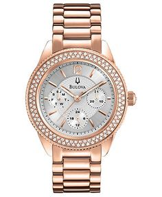 Bulova Watch, Women's Rose Gold Tone Stainless Steel Bracelet 38mm 97N101 - All Watches - Jewelry & Watches - Macy's