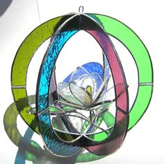 Sugar Magnolia - Medium Stained Glass 3D Sphere - Round Colorful Flower Nature Scene Leaf Leaves Suncatcher Home Decor