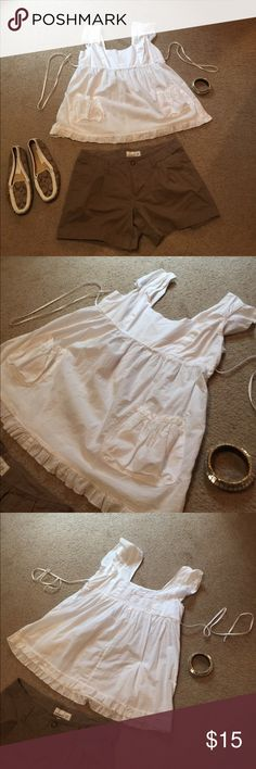 $5 $10 $15 NoV SALE! White back tie baby doll top Cute white back tie baby doll shirt, size L Xhilaration Tops Blouses