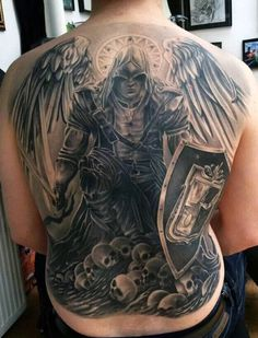 Mens Back Guardian Angel In Warrior Costume And Skulls Tattoo