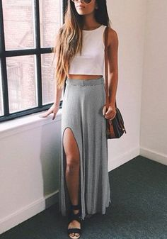 Make any day the perfect excuse to win the street-style game with this gorgeous grey side-slit maxi skirt.... - Street Style