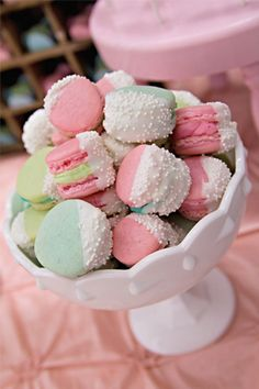 COOKIES SERVING INSPIRATION: |     Multi-Colored French Macaroons + Dipped in White Chocolate + Sprinkled or Dipped into White Sprinkles.