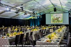 This reception had spotlights and blue/green colorwash uplighting Tent Lighting, Lighting Ideas, Corporate Event Design, Company Party, Business Events, Streamers, Fundraising, Lanterns, Reception