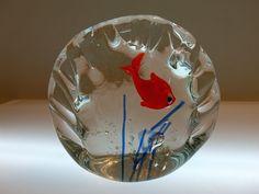 Italian Murano Italy Hand Blown Goldfish Clear Glass Paperweight