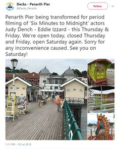 19 & 20 July: Filming at Penarth Pier Eddie Izzard, James D'arcy, Lighthouse, Street View, Film, Beach, Bell Rock Lighthouse, Light House, Movies
