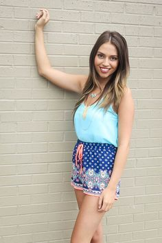 Pretty in Paisley Shorts- Navy