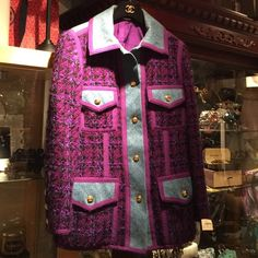 Chanel Jean and Purple Tweed Jacket Gorg Chanel Jean Purple Tweed Classic Jacket. Interior is purple silk with double CC logo. See last pic. Chanel logo metal accents are gold. Great condition. Sorry no trades. CHANEL Jackets & Coats