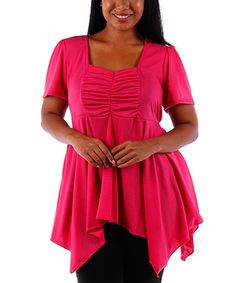 Another great find on #zulily! Fuchsia Pleated Square Neck Handkerchief Top - Plus #zulilyfinds