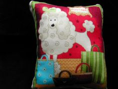 Poodle Pin Cushion Shopping Boutique Cotton &  Red Velvet Reverse  New