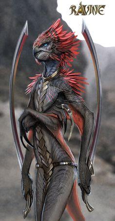 Alien- Humanoide- Teriomorfo- Mujer- Ave- Criatura- Monstruo- Fantacia