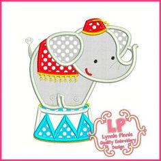 Circus Elephant Applique 4x4 5x7 6x10 SVG