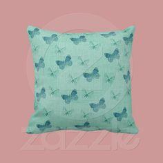 Textured Blue Butterflies pillow from Zazzle.com